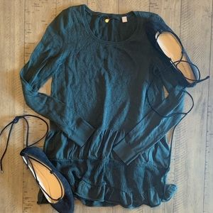 KNITTED &KNOTTED LONG SLEEVE FOREST GREEN SHIRT XS